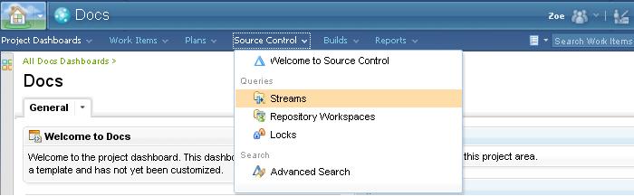 Source Control menu in the Source Control Web UI