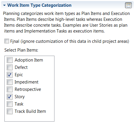 Plan Item Configuration Option