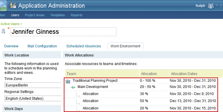 User Allocations in the CCM application's user editor