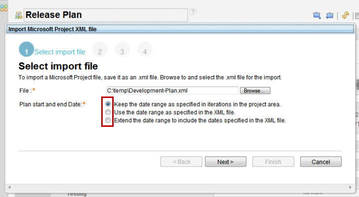 Import project plan data  - select file and dates