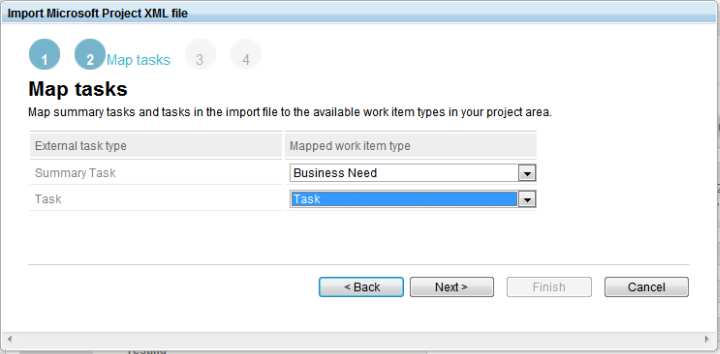 Import project plan data  - step 2 map task types