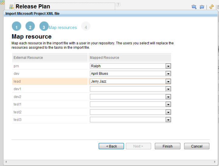Import project plan data  - step 3 map users