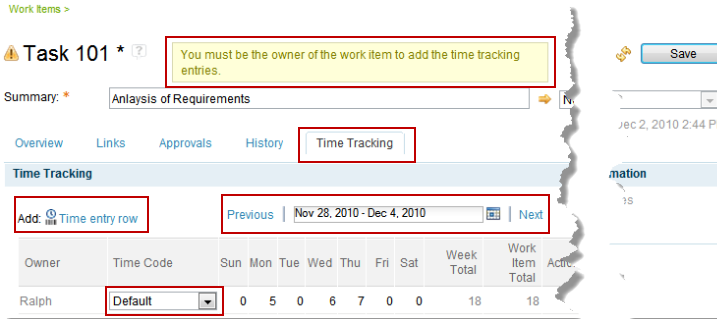 Time tracking on work items