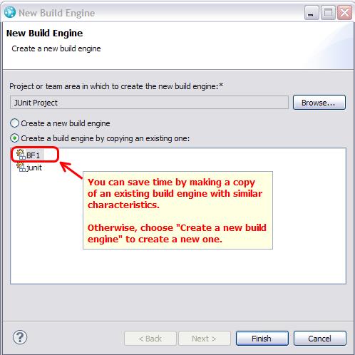Create build engine dialog