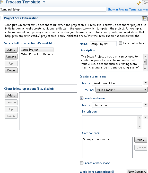 Template with initialization actions