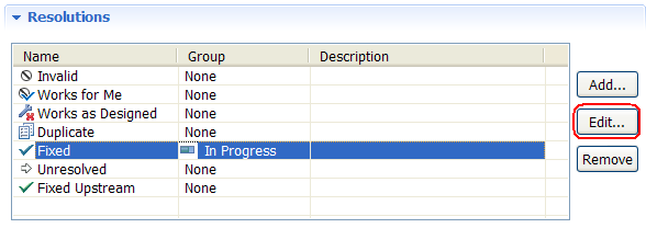 Workflow Resolution table with State Groups in Eclipse UI