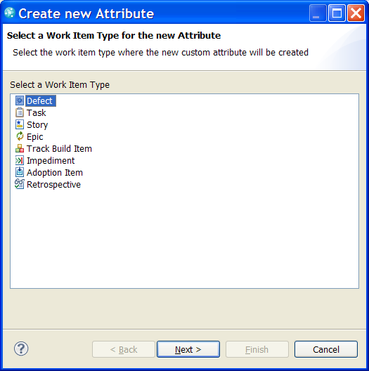 New Attribute Wizard in Eclipse UI