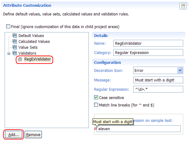 Example of Regular Expression validator