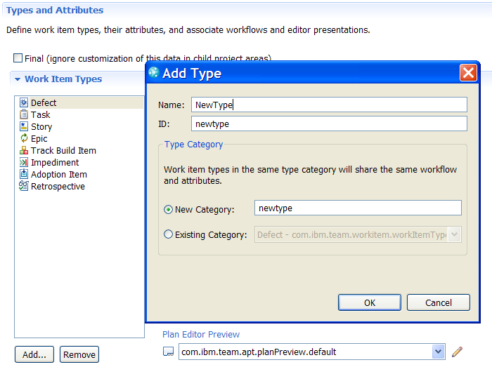 New Type dialog in Eclipse UI