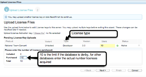 Inputting the number of licenses