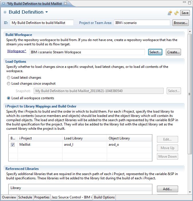 Build Definition editor