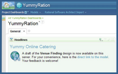 Headline on the YummyRation project dashboard