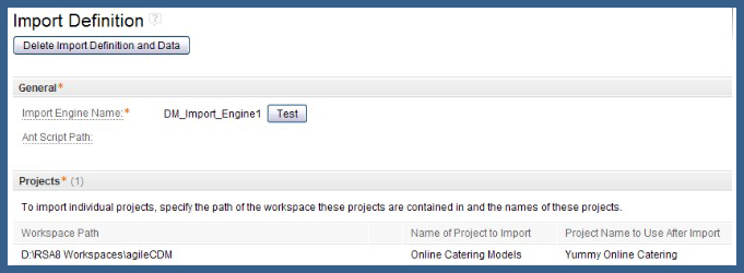 Import definition for the Yummy Online Catering model