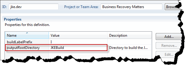 Property definition for the build output root folder
