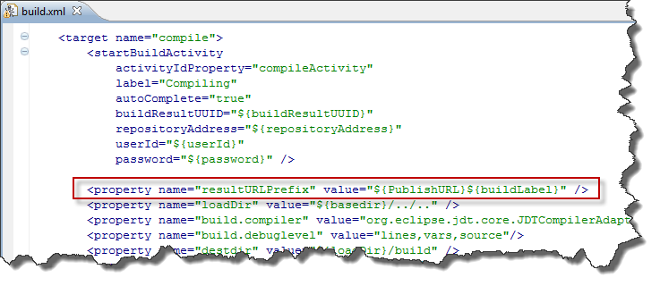 Add a new property resultURLPrefix to the build.xml