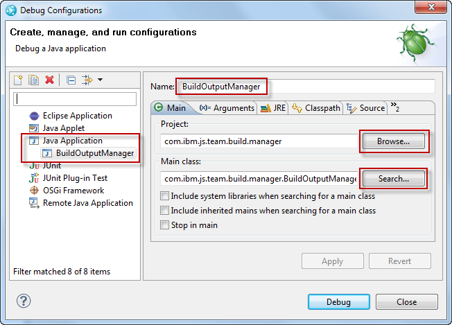 Create a new 'Launch Configuration' for the Java Application