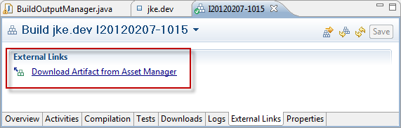 Build result that is marked as deliverable now contains link to published IBM Rational Asset Manager Asset Version