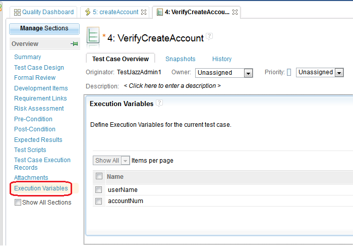 Execution Variables in Test Case