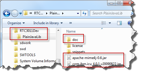 Plain Java Client Libraries folder structure after setup