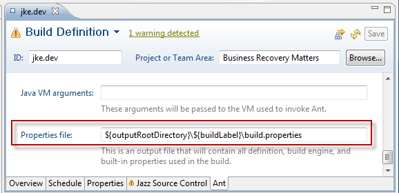 Prepare the build definition to create the build.properties file