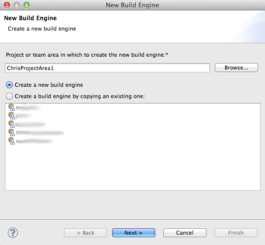 New build engine wizard