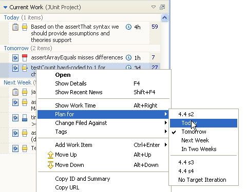 Insert Work Item Using the Context Menu