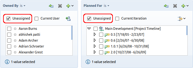 A query with the Owned By or Planned For attribute using the 'Unassigned' value
