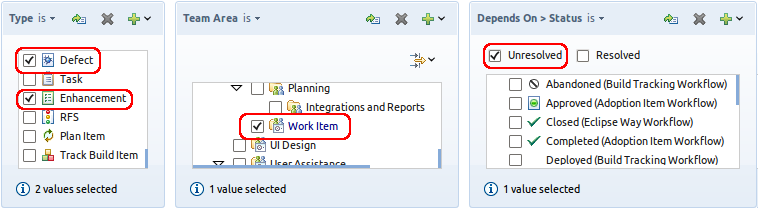 Find all defects and enhancements of the Work Item team that depend on another unresolved work item