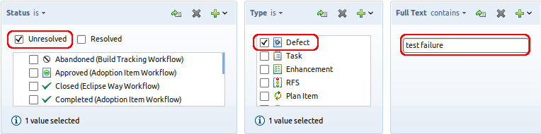 Find all unresolved defects that contain the text 'test failure'