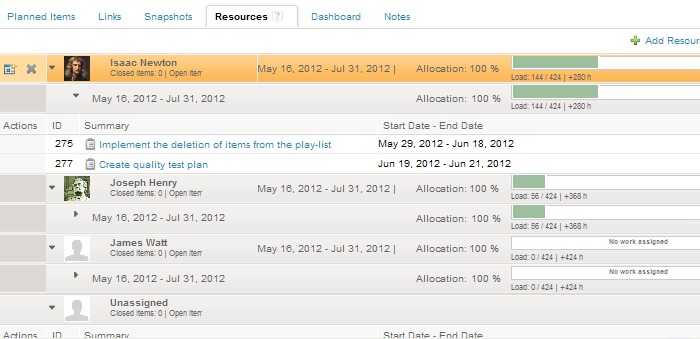 Resource Allocation in Resources Tab