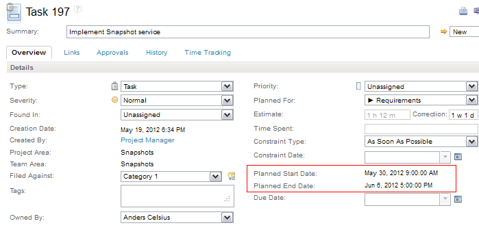 Planned Start and End date in Work Item editor