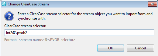 Change ClearCase Stream dialog