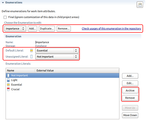 The Eclipse UI for configuring custom enumeration types showing the Importance enumeration