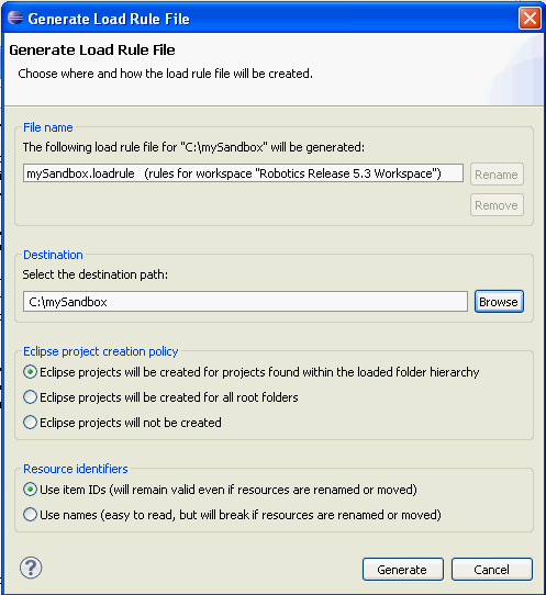 Generate Load Rule dialog