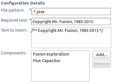 Configuration of Required Content precondition to ensure copyright is present.