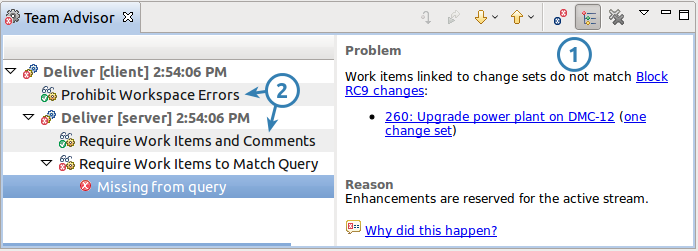 The Team Advisor view configured to show items interesting for process authors (Eclipse RTC)