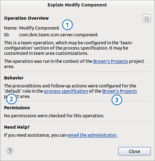 Example of the Why Did This Happen dialog (Eclipse RTC)