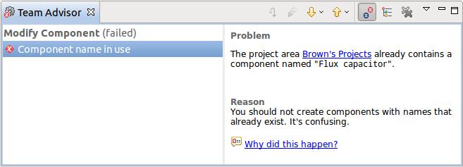 Example of the Team Advisor view (Eclipse RTC)