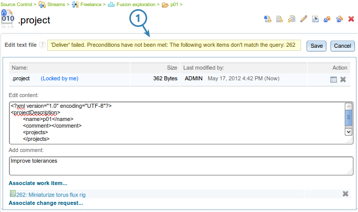 The Team Advisor view configured to show items interesting for process authors (Web UI)