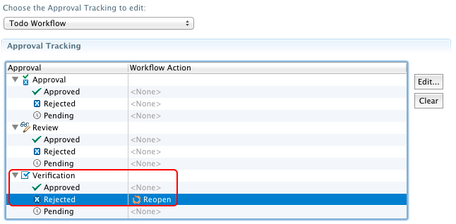 Eclipse UI for Approval Tracking showing a configured Reopen action on Rejected verifications