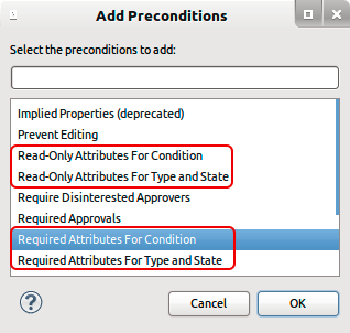Add Required/Read-only preconditions in the Eclipse UI