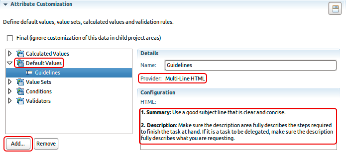 A Guideline default value with formatted text for Multi-Line HTML attributes