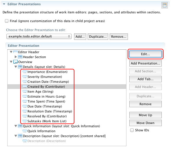 Configuration editor for the Editor Presentation in the Eclipse UI