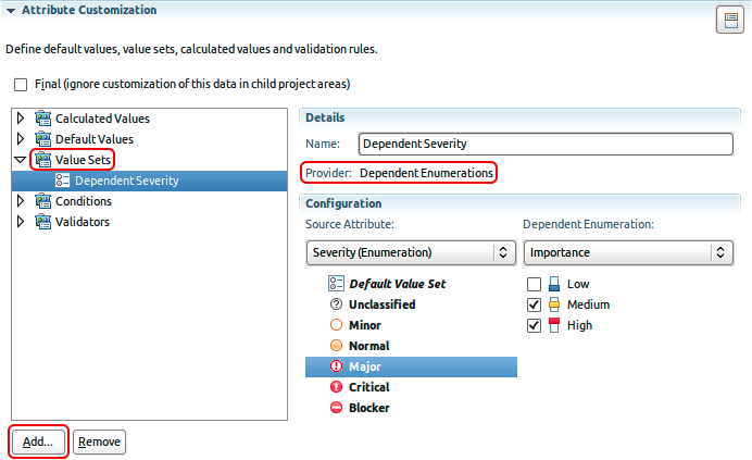 Eclipse UI for selecting dependent enumerations values for a selected literal