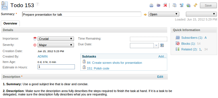 The Todo item in the Web UI
