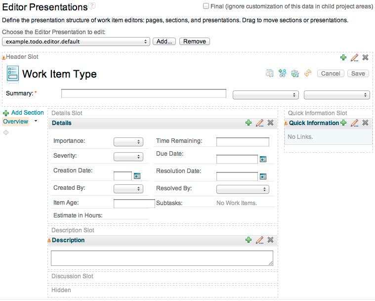 The WYSIWYG editor for customizing editor presentations in the Web UI