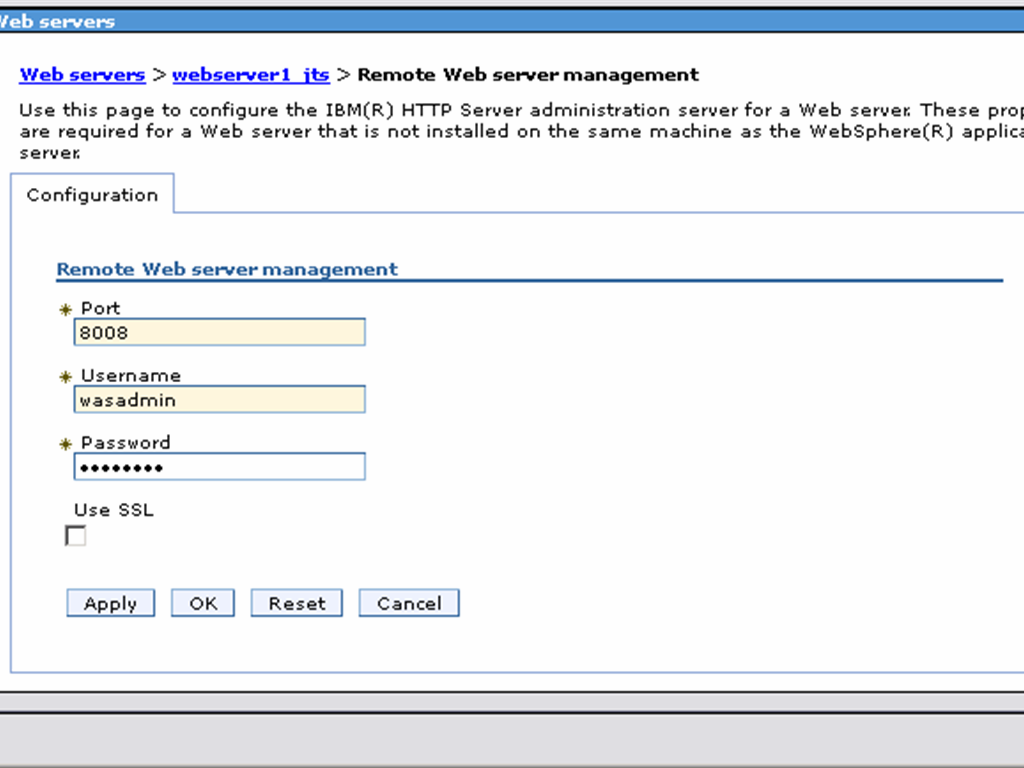 Configuring enterprise clm reverse proxies websphere and ihs specify the port username and password to allow was to connect to the ihs admin console click ok and save 1betcityfo Gallery