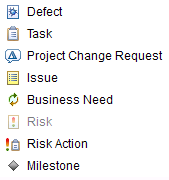 Defect, Task, Project Change Request, Issue, Business Need, Risk, Risk Action, Milestone