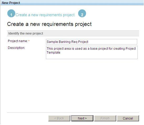 Create Requirements Project screen capture