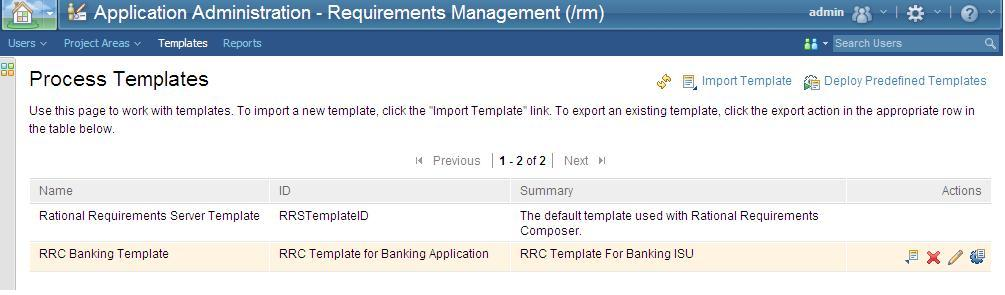 RRC Process Template screen capture
